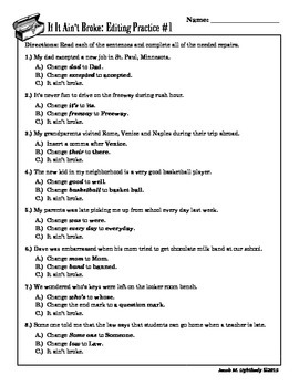 IF It Ain't Broke (Multiple Choice Editing Practice Worksheets) | TpT