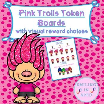First/Then Token Board- PINK TROLLS