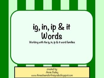 IG, IN, IP & IT Word Study Sort and Activities