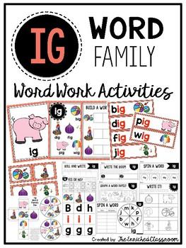 IG Word Family Word Work Activities