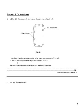 IGCSE BIOLOGY CLASSIFIED PAPERS CELL STRUCTURE AND ORGANIZATION PAPER 2