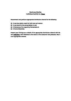 IGCSE Business - Distribution(place) activity