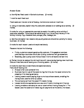 IGCSE Business Studies Practice Question- Carlos Factory with Answer Guide
