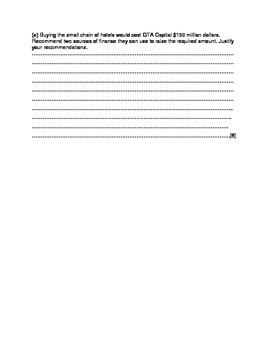 IGCSE Business Studies Structured Questions Practice Question- GTA Capital