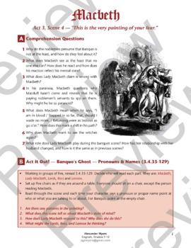 IGCSE / IB Shakespeare: Macbeth - Act 3, Scene 4 (Banquo's Ghost) + ANSWERS