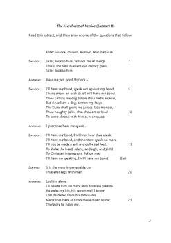 IGCSE Literature Paper 2 Mock Exam for Merchant of Venice (Shakespeare)