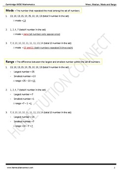 IGCSE Math - Mean, Median, Mode and Range