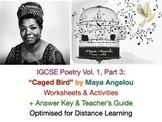 IGCSE Poetry: 'Caged Bird' by Maya Angelou (Poem, Worksheets + ANSWERS + Guide)