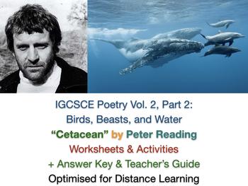 """IGCSE Poetry: """"Cetacean"""" - Peter Reading - Poem, Worksheets, Exam Prep + Guide"""