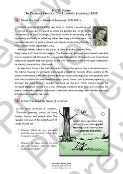 """IGCSE Poetry - """"In Praise of Creation"""" - Elizabeth Jennings - Lesson + Guide"""