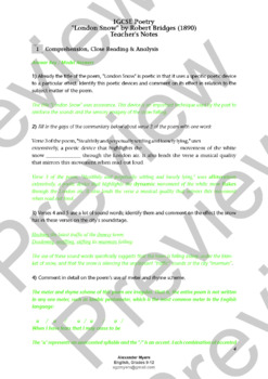 "IGCSE Poetry: ""London Snow"" by Robert Bridges - Poem, Worksheets + ANSWER KEY"