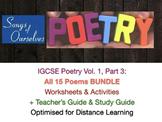 IGCSE Poetry 2020-2021 Vol 1 Part 3 TEACH + EXAM PREP Bundle ALL POEMS + ANSWERS