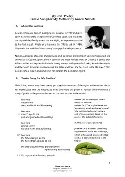IGCSE Poetry: 'Praise Song for My Mother' by Grace Nichols