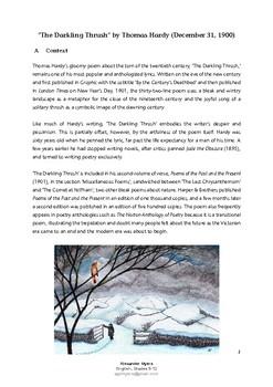 IGCSE Poetry: 'The Darkling Thrush' by Thomas Hardy