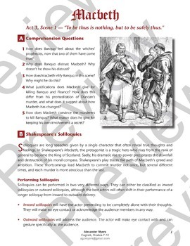 """IGCSE Shakespeare: Macbeth - Act 3, Scene 1 (""""To Be Thus is Nothing"""") + ANSWERS"""