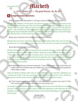 IGCSE Shakespeare: Macbeth - Act 3, Scenes 2-3 - Worksheet + Activity + ANSWERS