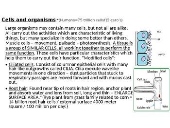 IGCSE Year 10.3 Cells