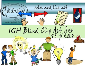 IGH Blend Phonics Clip Art Set - Color and Line Art 28 pc set