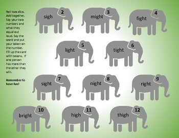 IGH Makes a Long I Tricky Sound, Phonics Gameboard