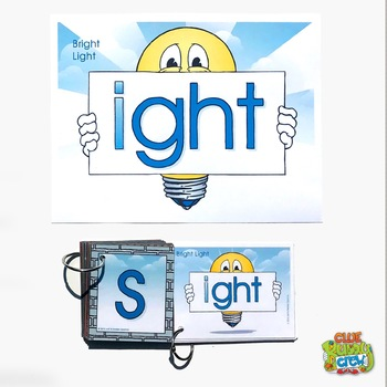 IGHT (Bright Light) Word Buddy Card and Poster with Alphabet Word Building Cards