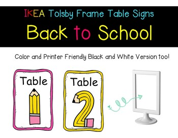 EDITABLE IKEA Tolsby Frame Table Signs - BACK TO SCHOOL