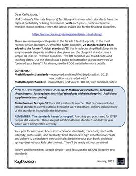 ILEARN MATH Blueprint and Teaching Checklist Grade 3 by Kay Davidson