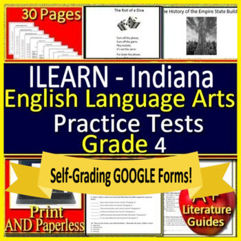 ILEARN Test Prep Practice Tests for 4th Grade ELA Indiana Computer Adaptive