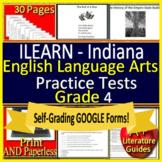 4th Grade ILEARN Test Prep ELA Indiana Printable + SELF-GRADING GOOGLE FORMS!