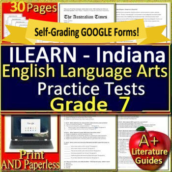 ILEARN Test Prep Practice Tests for 7th Grade ELA Indiana Computer Adaptive