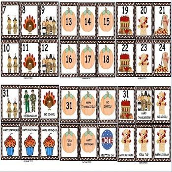 Fall Theme Illustrated Calendar Numbers Bundle