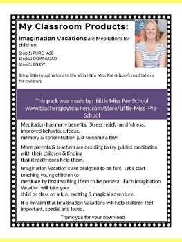 IMAGINATION VACATION- Mindfulness & Meditations for children 3-8 years