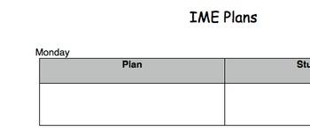 IME Planning Sheet