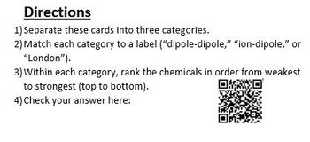 IMF Group Problem Set (Interactive with QR Code for Intermolecular Forces)