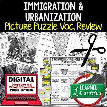 IMMIGRATION & URBANIZATION Picture Puzzle Unit Review, Study Guide, Test Prep