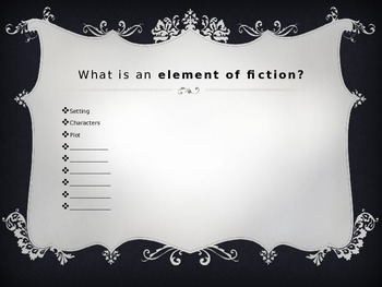 IMPACT of Elements of Fiction on Each Other PPT