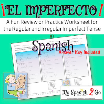 IMPERFECT TENSE:  A Fun Practice or Review Worksheet in Spanish