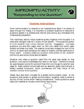 "IMPROMPTU SPEAKING (Communication Activities): ""Help Avoid Those SWEATY Palms"""