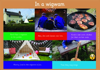 IN A WIGWAM: A3 Phonics Poster and  Matching Board. End of Phase 3  Sentences..