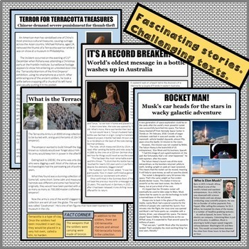 IN THE NEWS! Reading passages and writing pack from news stories, Spring 2018