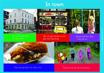 IN TOWN: A3 Phonics Poster and  Matching Board. End of Phase 3  Sentences.