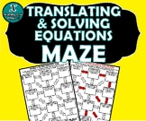 INB ACTIVITY MAZE - Algebra - Translating & Solving Equations