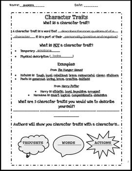 INB- Character Traits Notes