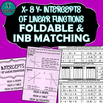 INB FOLDABLE & INB PRACTICE - Algebra - X-Intercepts & Y-Intercepts