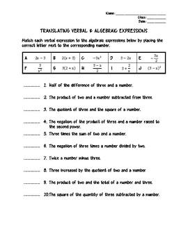 INB MATCHING ACTIVITY & QUIZ - Algebra - Translating Verbal Expressions