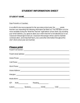 INCOMING STUDENT INFORMATION SHEET