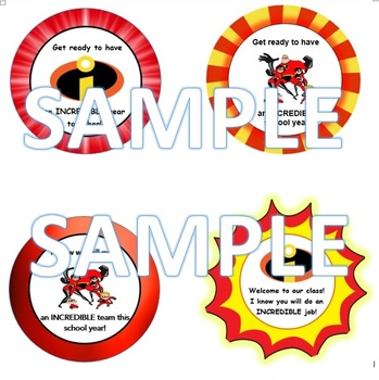 INCREDIBLES SNACK LABELS FOR OPEN HOUSE OR FIRST DAY OF SCHOOL