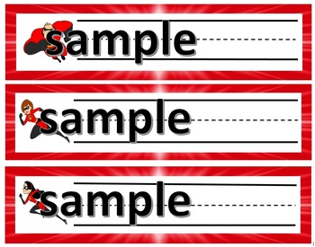 INCREDIBLES THEMED DESK/NAME TAGS WITH LINES-9 DIFFERENT TAGS