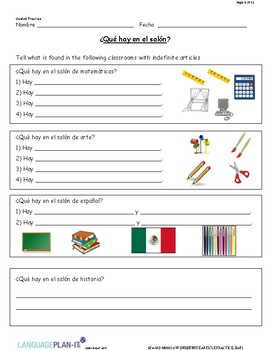 INDEFINITE ARTICLES PRACTICE, HAY (SPANISH)