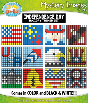 INDEPENDENCE DAY Create Your Own Mystery Images Clipart Set