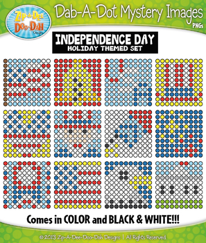 INDEPENDENCE DAY Dab-A-Dot Mystery Images Clipart {Zip-A-Dee-Doo-Dah Designs}